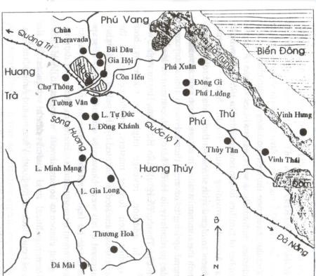 Vị trí mộ tập thể chung quanh Huế sau Tết Mậu Thân (Nguồn: PTGDVNHN, sđd. tr. 131.)