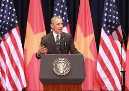 TT Obama nói chuyện ở HN. Ảnh bnews.vn