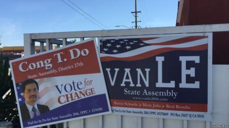 Bảng vận động tranh cử của ứng viên gốc Việt trong kỳ bầu sơ bộ 7 tháng Sáu ở San Jose. (Ảnh: Bùi Văn Phú)