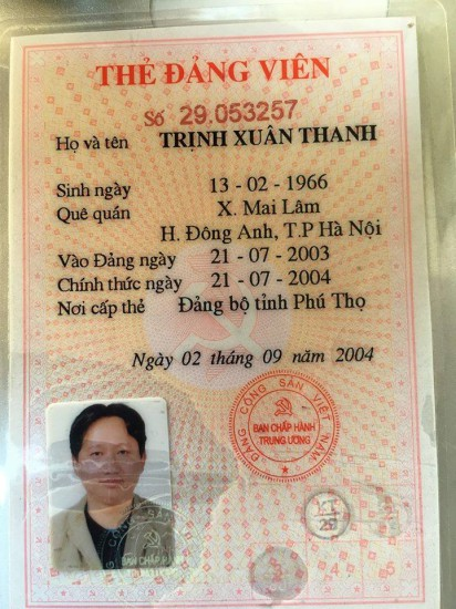 Tấm thẻ đảng viên của Trịnh Xuân Thanh gửi Người Buôn Gió.