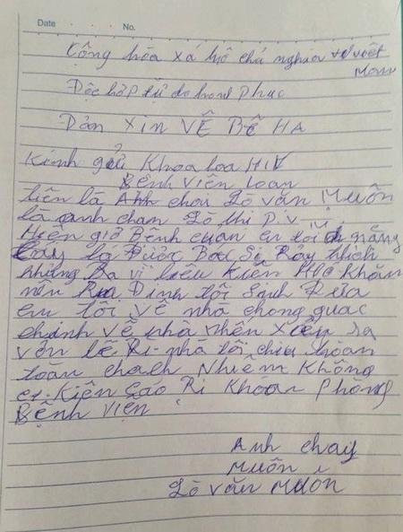 Đơn của người anh trai xin đưa bệnh nhân Lò Thị Phanh xuất viện về nhà. Ảnh & chú thích: Vnexpress