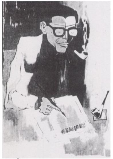 Nhà văn Mặc Đỗ ký hoạ của Tạ Tỵ